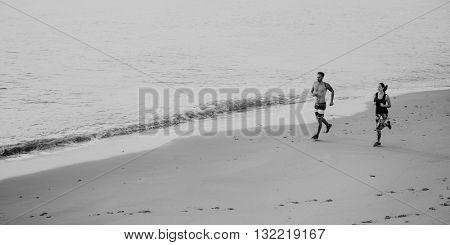 Run Exercise Beach Sport Coast Sprint Nature Concept