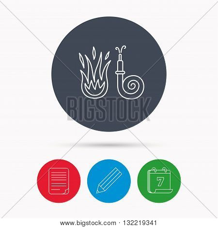 Fire hose reel icon. Fire station sign. Calendar, pencil or edit and document file signs. Vector