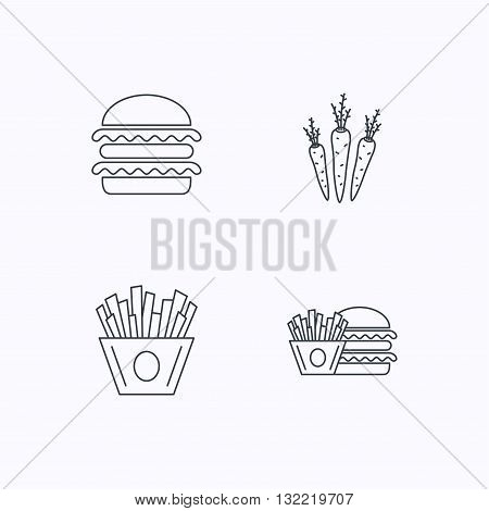 Hamburger, carrot and chips icons. Burger and chips fries linear signs. Flat linear icons on white background. Vector