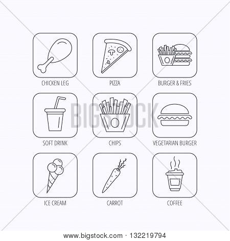 Vegetarian burger, pizza and soft drink icons. Coffee, ice cream and chips fries linear signs. Chicken leg, carrot icons. Flat linear icons in squares on white background. Vector