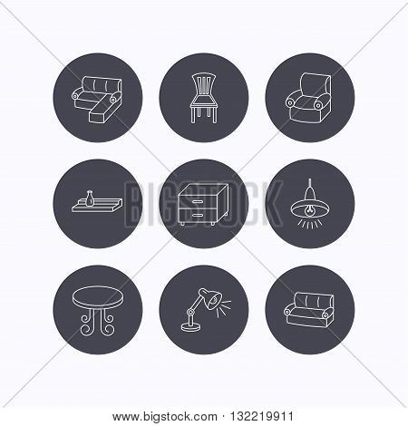 Corner sofa, table and armchair icons. Chair, ceiling lamp and nightstand linear signs. Wall shelf furniture flat line icons. Flat icons in circle buttons on white background. Vector