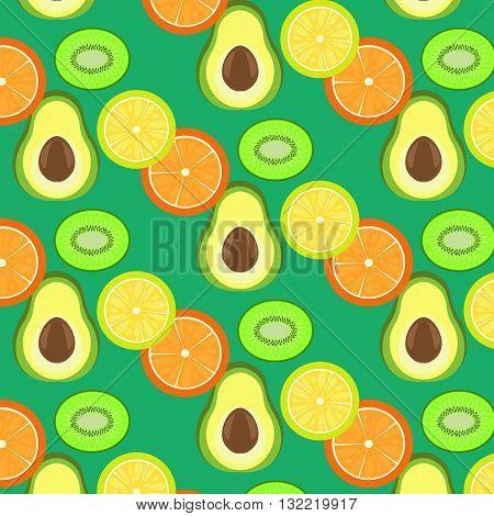 lemon kiwi orange avocado background fruit section