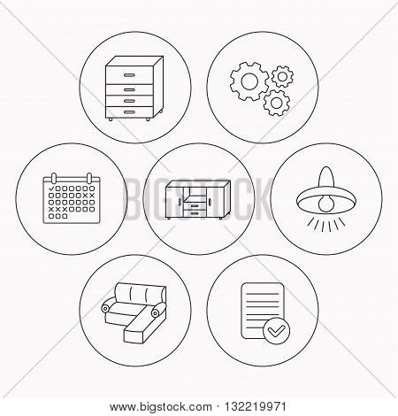 Corner sofa, ceiling lamp and chest of drawers icons. Furniture linear signs. Check file, calendar and cogwheel icons. Vector