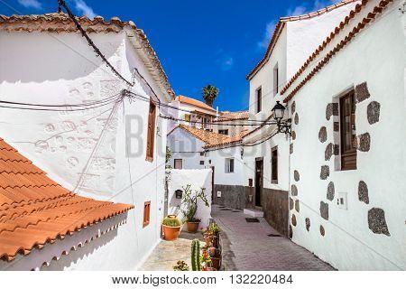 Fataga city streets on  Gran Canaria in Spain.