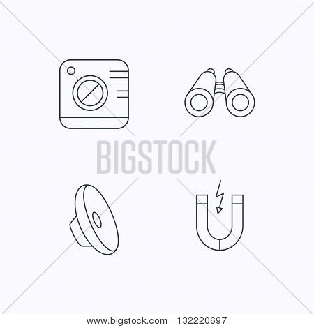 Photo camera, magnet and sound icons. Search linear sign. Flat linear icons on white background. Vector