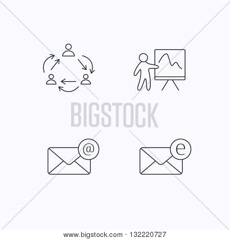 Teamwork, presentation and e-mail icons. E-mail inbox linear sign. Flat linear icons on white background. Vector