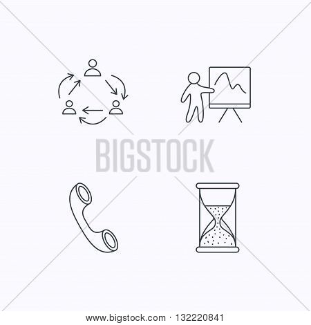 Teamwork, presentation and phone call icons. Hourglass linear sign. Flat linear icons on white background. Vector