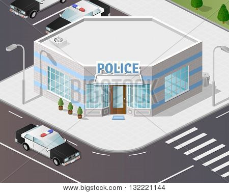 Vector graphics, illustration 3d police station, isometric style.
