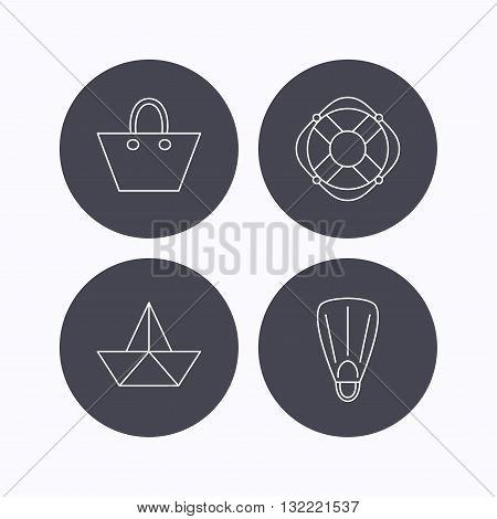 Paper boat, flippers and lifebuoy icons. Women handbag linear sign. Flat icons in circle buttons on white background. Vector