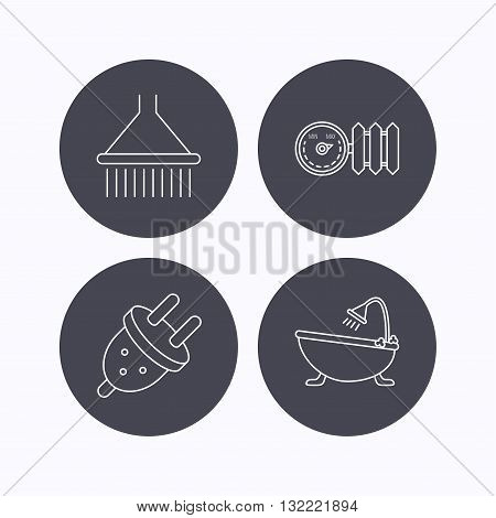 Shower, bath and electric plug icons. Radiator with regulator linear sign. Flat icons in circle buttons on white background. Vector