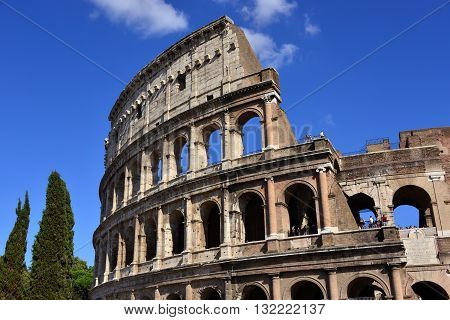 ROME, ITALY - AUGUST 25: Coliseum the most famous landmark in Rome AUGUST 25, 2015 in Rome, Italy