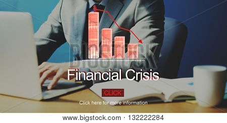 Financial Crisis Depression Failure Decrease Concept