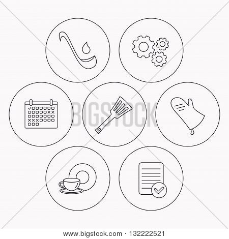 Soup ladle, potholder and kitchen utensils icons. Food and drink linear signs. Check file, calendar and cogwheel icons. Vector
