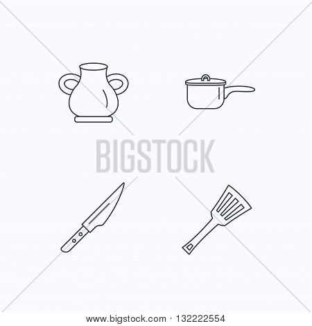 Saucepan, kithcen knife and utensils icons. Vase linear sign. Flat linear icons on white background. Vector