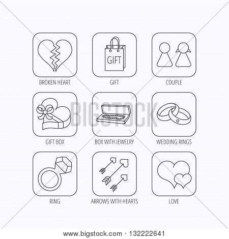 Love heart, gift box and wedding rings icons. Broken heart and couple linear signs. Valentine amour arrows flat line icons. Flat linear icons in squares on white background. Vector