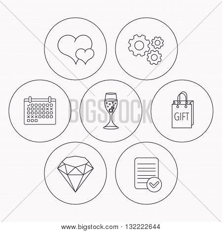 Love heart, gift box and wedding ring icons. Brilliant and engagement linear signs. Check file, calendar and cogwheel icons. Vector