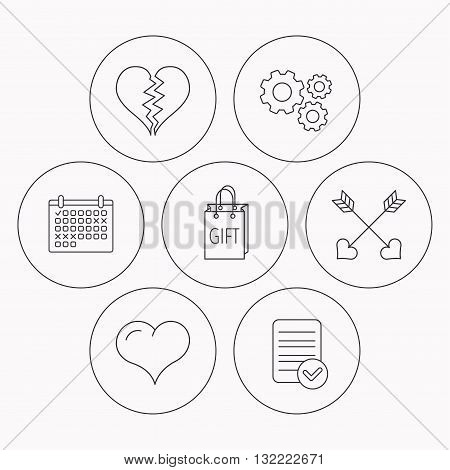 Love heart, gift box and arrows icons. Broken heart or divorce linear signs. Check file, calendar and cogwheel icons. Vector