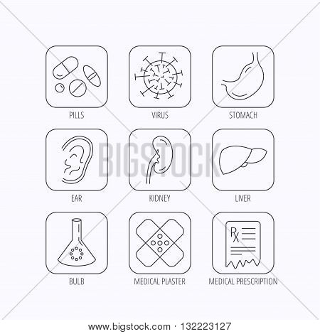 Pills, medical plaster and prescription icons. Virus, stomach and liver linear signs. Ear, kidney and lab bublb icons. Flat linear icons in squares on white background. Vector