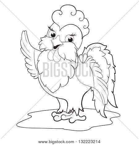 Cute Cockerel. Page for children's book-coloring. Symbol 2017 new year