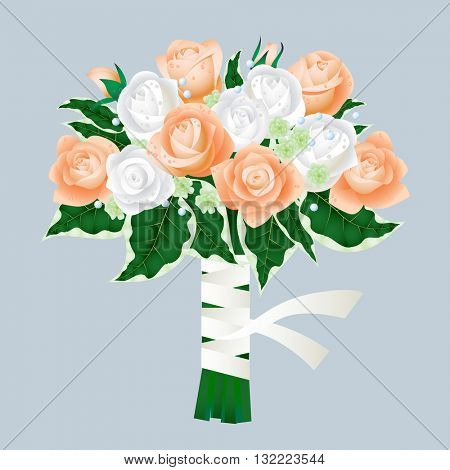 Bridal bouquet of roses Isolated on gray background. Vector illustration