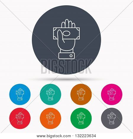 Money icon. Cash in giving hand sign. Payment symbol. Icons in colour circle buttons. Vector