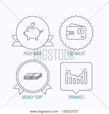 Piggy bank, cash money and dynamics chart icons. USD wallet linear sign. Award medal, star label and speech bubble designs. Vector