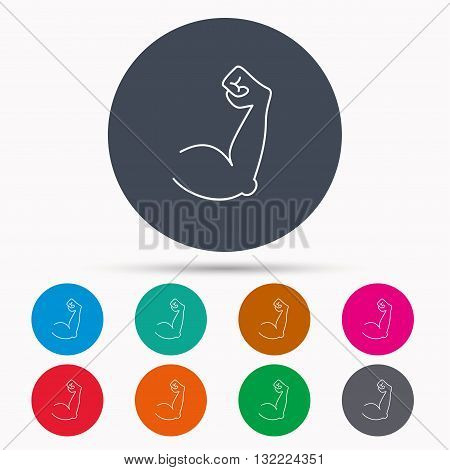 Biceps muscle icon. Bodybuilder strong arm sign. Weightlifting fitness symbol. Icons in colour circle buttons. Vector