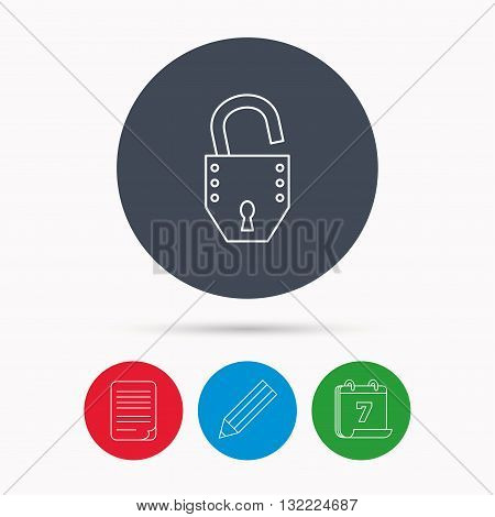 Open lock icon. Padlock or protection sign. Password symbol. Calendar, pencil or edit and document file signs. Vector