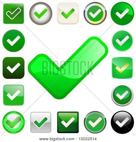 Botones de vector aprobado.