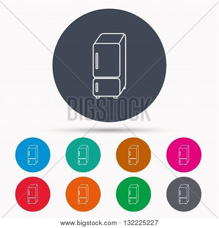 Refrigerator icon. Fridge sign. Icons in colour circle buttons. Vector