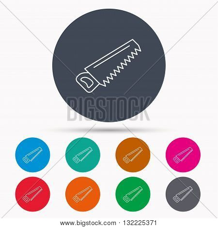 Saw icon. Carpentry equipment sign. Hacksaw symbol. Icons in colour circle buttons. Vector