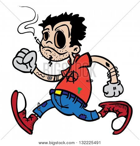 punk boy walking cartoon isolated on white
