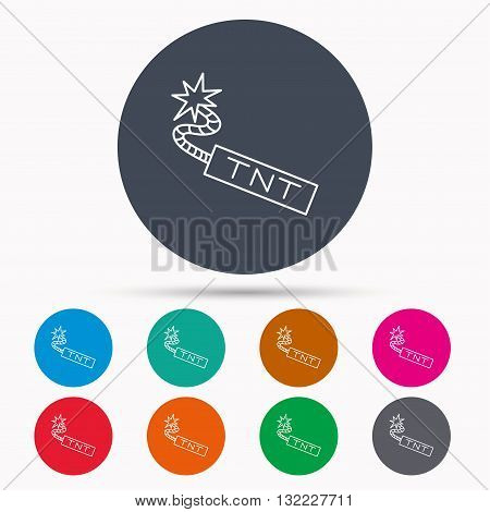 TNT dynamite icon. Bomb explosion sign. Icons in colour circle buttons. Vector