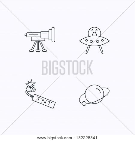 Ufo, planet and telescope icons. TNT dynamite linear sign. Flat linear icons on white background. Vector