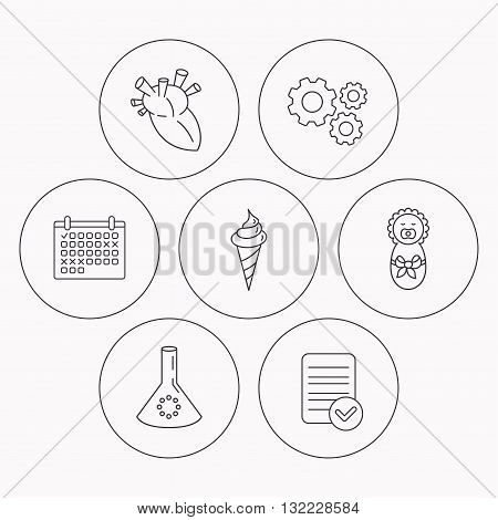 Newborn, heart and lab bulb icons. Ice cream linear sign. Check file, calendar and cogwheel icons. Vector
