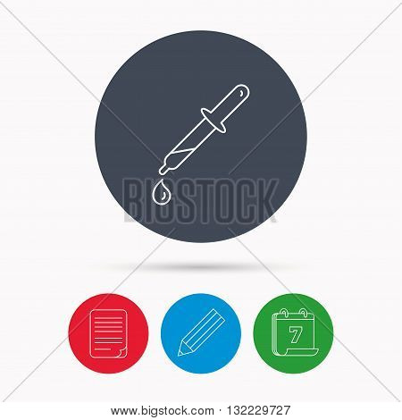 Pipette icon. Laboratory analysis sign. Calendar, pencil or edit and document file signs. Vector