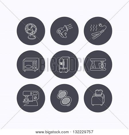 Microwave oven, hair dryer and blender icons. Refrigerator fridge, coffee maker and toaster linear signs. Ventilator, curling iron and waffle-iron icons. Flat icons in circle buttons on white background. Vector