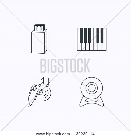 Headphones, web camera and USB flash icons. Piano linear sign. Flat linear icons on white background. Vector