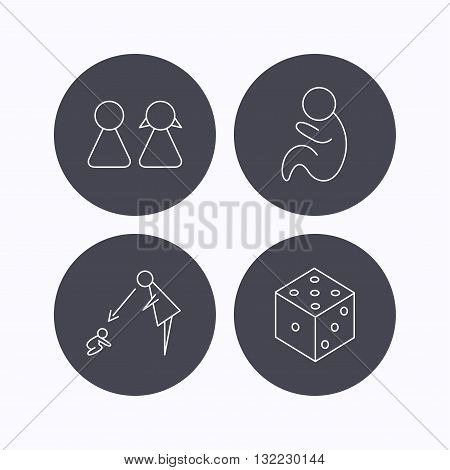 Couple, paediatrics and dice icons. Under supervision linear sign. Flat icons in circle buttons on white background. Vector