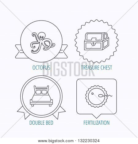 Fertilization, double bed and octopus icons. Treasure chest linear signs. Award medal, star label and speech bubble designs. Vector