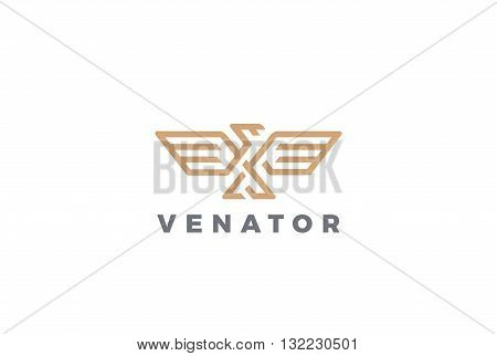 Eagle Logo abstract design vector Linear style Bird Luxury