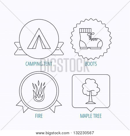 Maple tree, camping tent and hiking boots. Fire flame linear sign. Award medal, star label and speech bubble designs. Vector