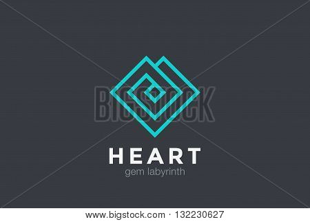 Geometric Heart Logo design vector linear Luxury Jewelry Fashion