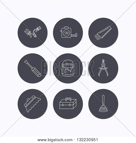 Screwdriver, plunger and repair toolbox icons. Trowel for tile, bucket of paint linear signs. Measurement, battery terminal icons. Flat icons in circle buttons on white background. Vector