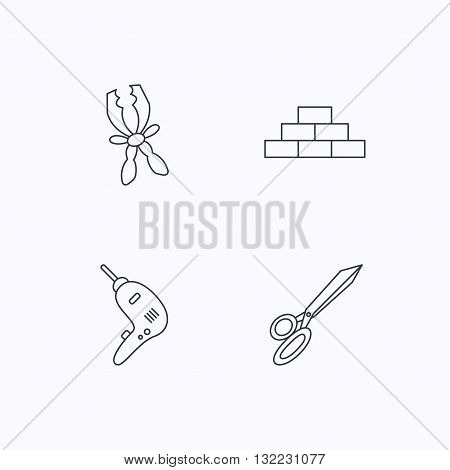 Wall and scissors icons. Drill tool linear sign. Flat linear icons on white background. Vector