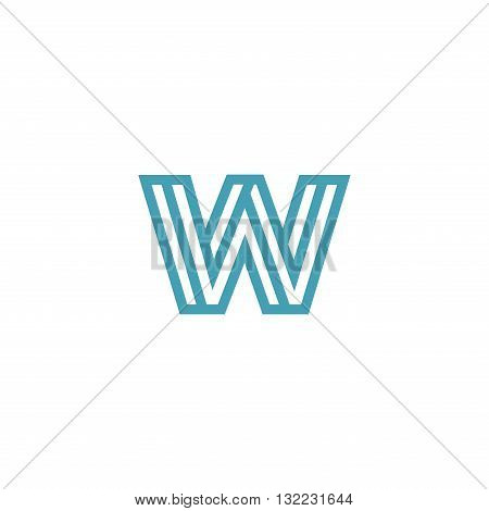 Impossible Letter W Logo design vector Linear Symbol Monogram