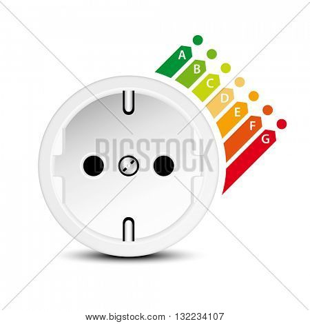 Energy efficiency icon with socket isolated