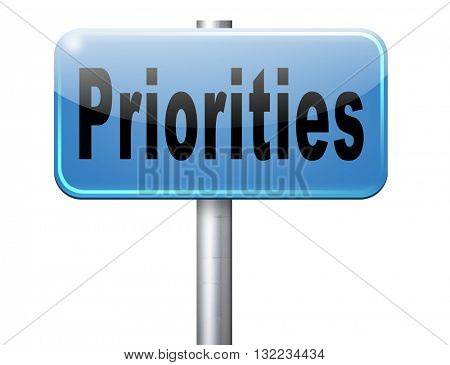 Priorities important very high urgency info lost importance crucial information top priority, road sign billboard.