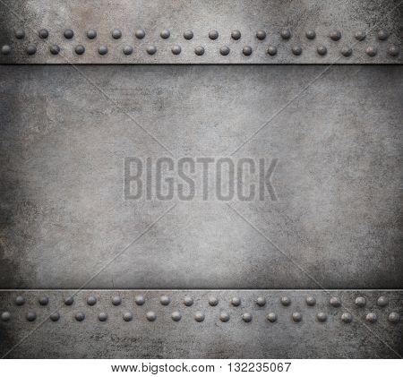 grunge metal background with rivets 3d illustration
