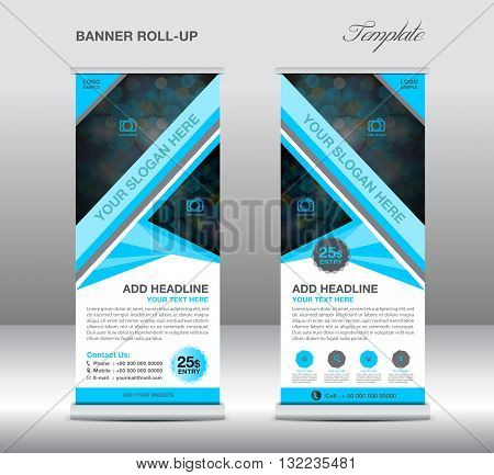Blue Roll up banner stand template stand design banner template Blue banner advertisement flyer design Poster layout template